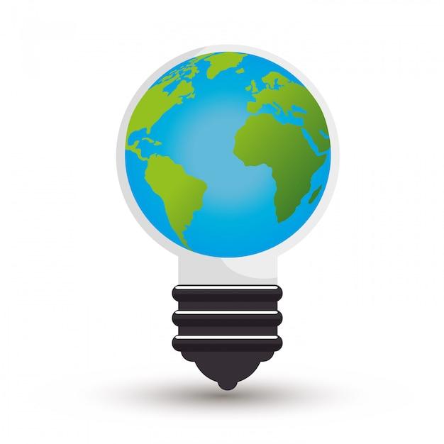 Idée D'écologie Ampoule Design Isolé Dans Un Style Plat Vecteur gratuit