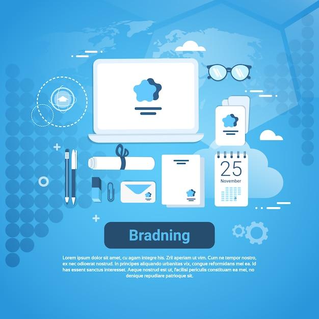 Idée de marque marketing concept technologique bannière web avec espace de copie Vecteur Premium
