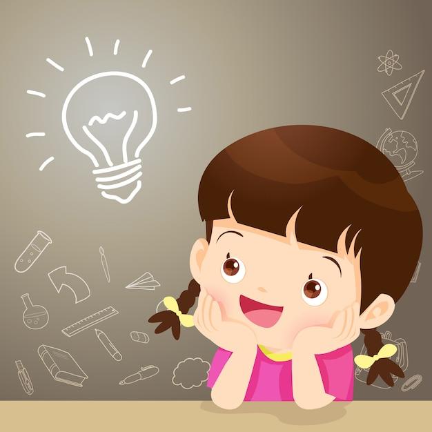 Idée de pensée fille enfants Vecteur Premium