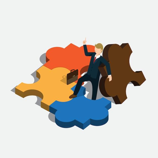 Idée de puzzle d'entreprise avec concept isométrique Vecteur Premium