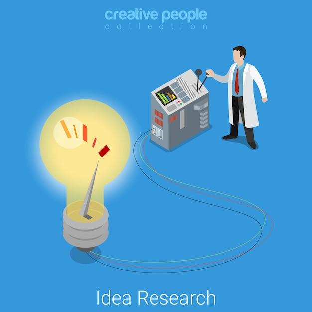 Idée Recherche Plat Entreprise Isométrique Démarrage Laboratoire Laboratoire Expérience Concept Scientifique éclairage Grand Appareil électronique Abstrait Lampe. Vecteur gratuit