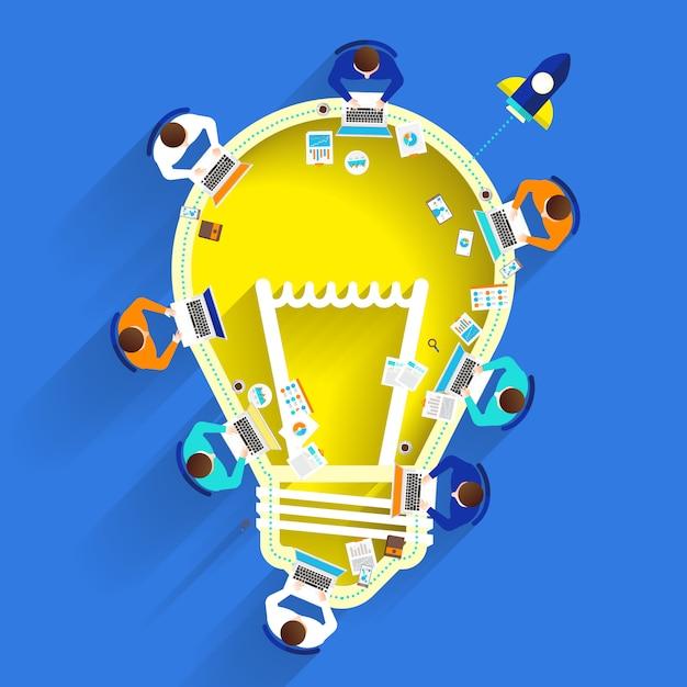 Idée de remue-méninges avec ampoule Vecteur Premium