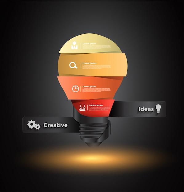 Idée de vecteur créatif ampoule avec modèle de bannières numéro Vecteur Premium