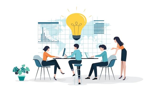 Idées créatives menant au succès Vecteur Premium