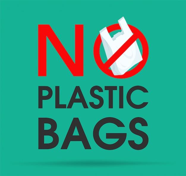 Idées pour réduire la pollution dites non au sac en plastique. Vecteur Premium
