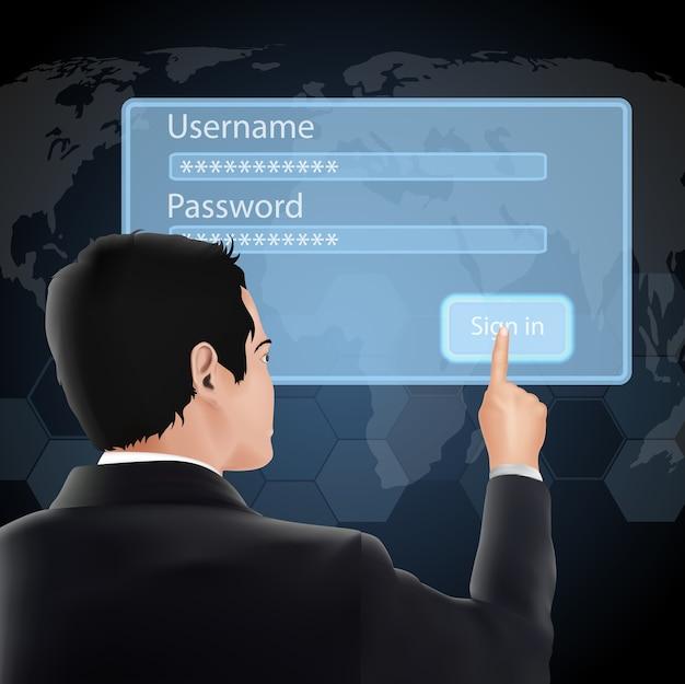 Identifiant et mot de passe de l'utilisateur Vecteur Premium