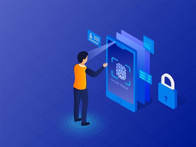 Identification biométrique Vecteur Premium