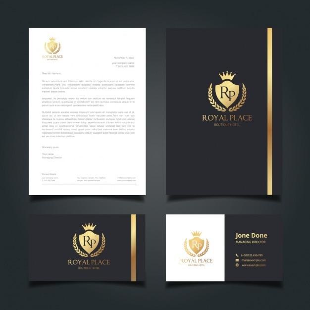 Identité d'entreprise noir et or élégant Vecteur gratuit