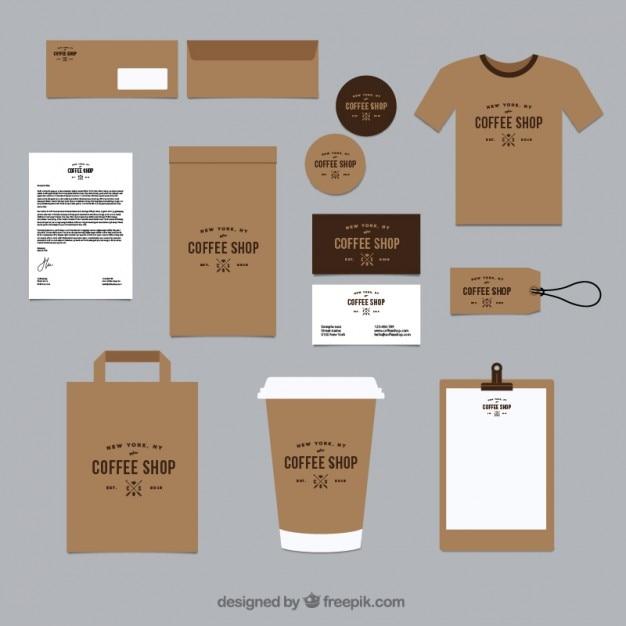 Identité visuelle brown pour le café chop Vecteur Premium