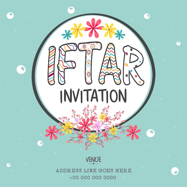 Iftar invitation avec décoration de fleurs colorées, peut être utilisé comme affiche, bannière ou flyer design, concept du festival de communauté musulmane. Vecteur gratuit