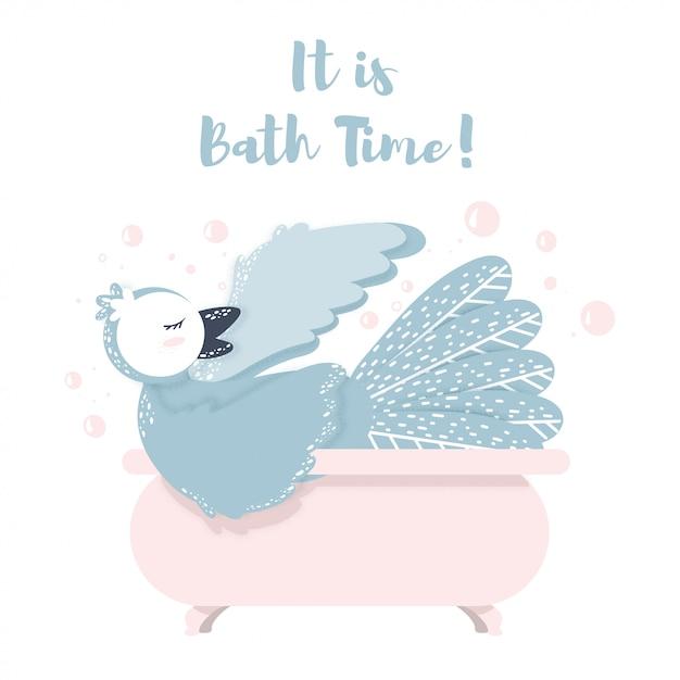 Il est l'heure du bain lettrage oiseau nageant dans une salle de bain avec bulle. oiseaux chanteurs Vecteur Premium