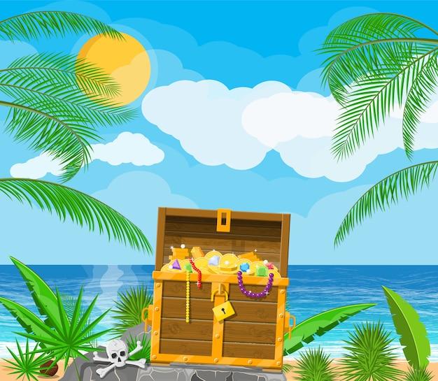 Île Au Trésor Des Pirates Avec Coffre Vecteur Premium