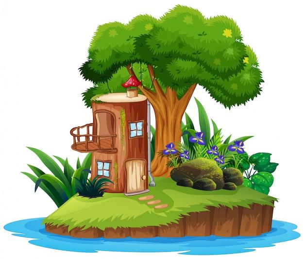 Île avec cabane Vecteur gratuit