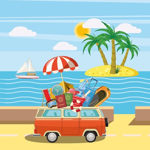 Île de concept de tourisme de voyage, style cartoon Vecteur Premium