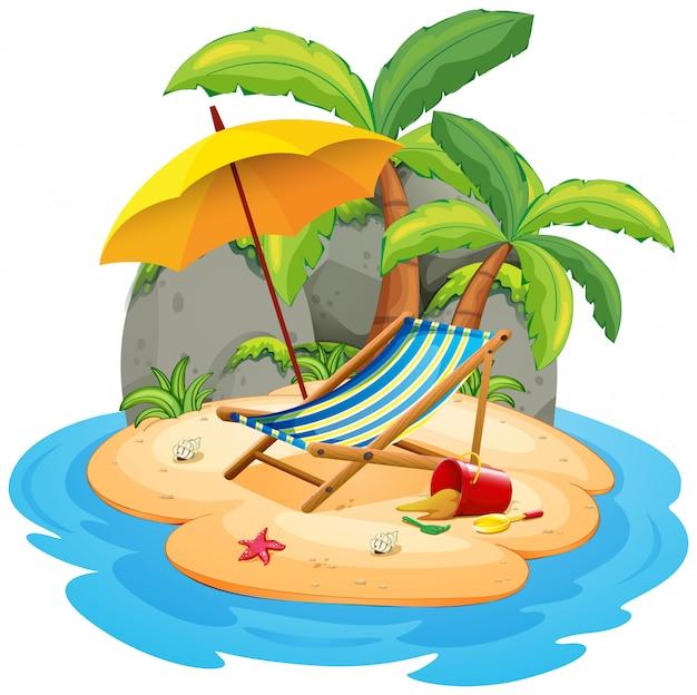 Une île d'été isolée Vecteur gratuit