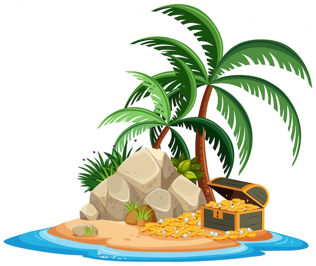 Île isolée avec trésor Vecteur Premium
