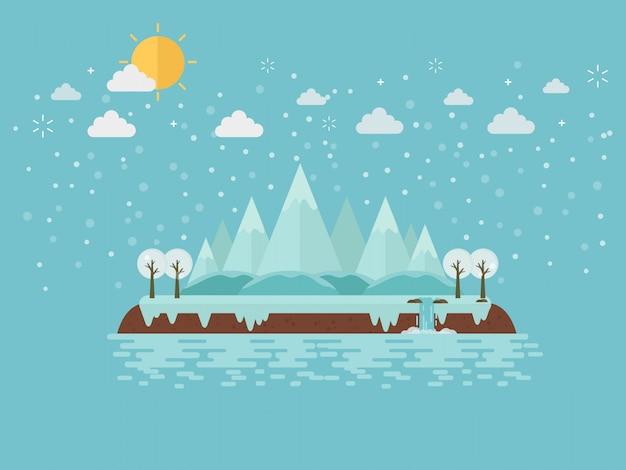 Île De Montagne D'hiver Sur La Glace Vecteur Premium
