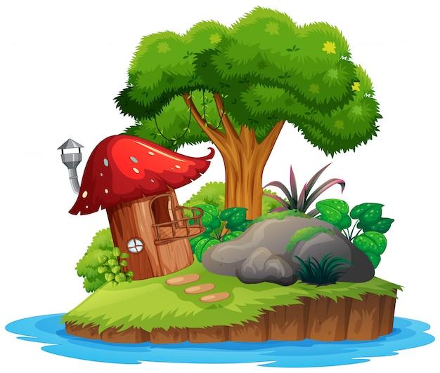 Une île de nature isolée Vecteur gratuit