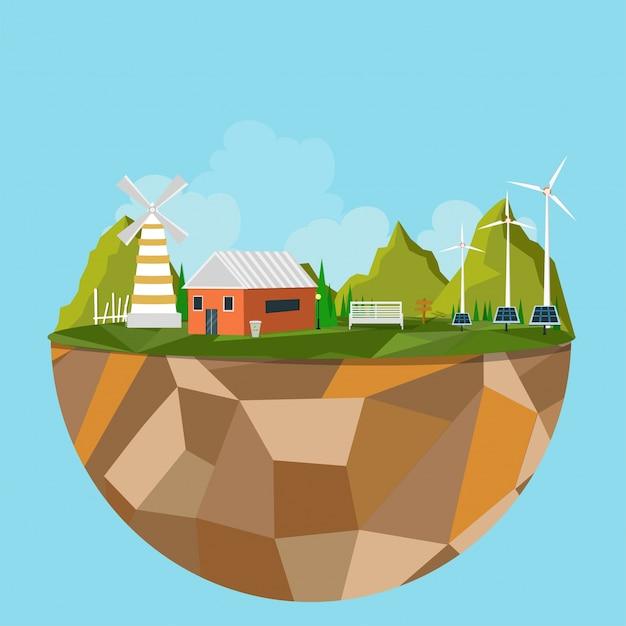 Île polygonale avec vue sur la ville verte, concept écologique. Vecteur gratuit