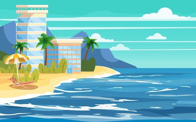 Île tropicale, construction d'hôtels, vacances, voyage, détente, paysage marin Vecteur Premium