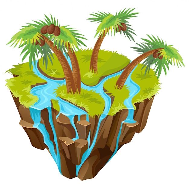 Île Tropicale Isométrique Avec Palmiers Vecteur gratuit