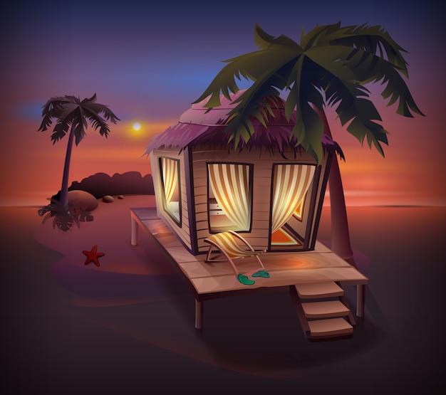 Île Tropicale De Nuit. Cabane De Paille Parmi Les Palmiers Au Bord De L'océan Vecteur Premium