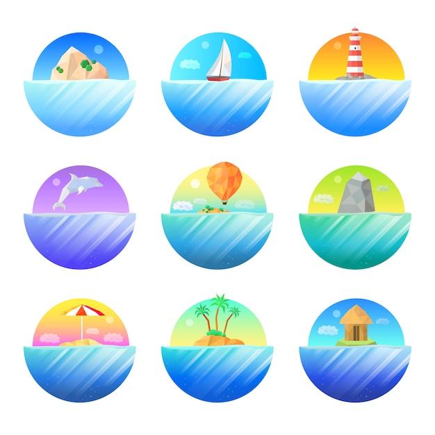 Île tropicale ronde ensemble d'icônes colorées Vecteur gratuit