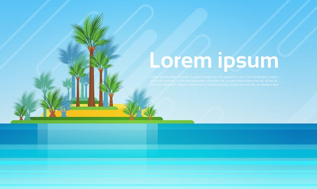Île de vacances tropicales avec palmier Vecteur Premium