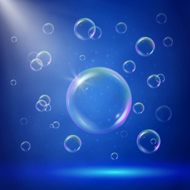 Illumination de la scène avec des projecteurs et des bulles Vecteur Premium