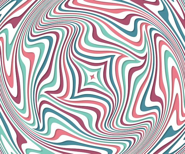 Illusion D'optique. Abstrait Avec Motif Ondulé. Tourbillon Coloré Vecteur Premium