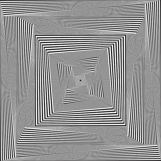 Illusion d'optique abstraite. fond de spirale d'hypnose Vecteur Premium