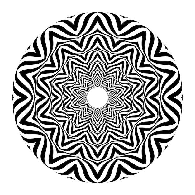 Illusion d'optique abstraite noir et blanc Vecteur Premium