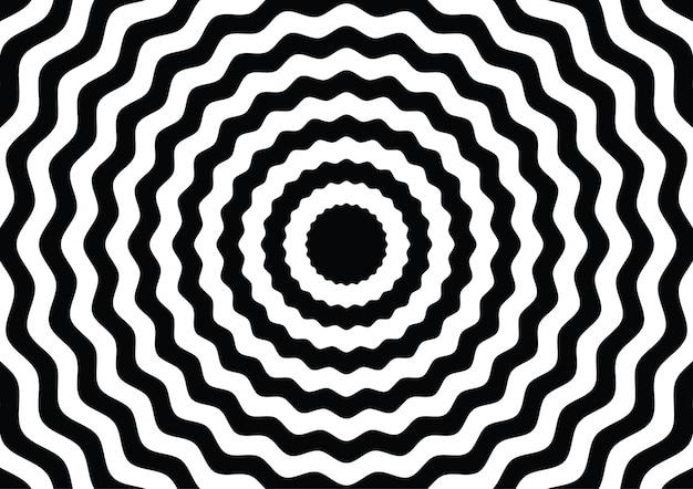 Illusion d'optique en noir et blanc Vecteur Premium