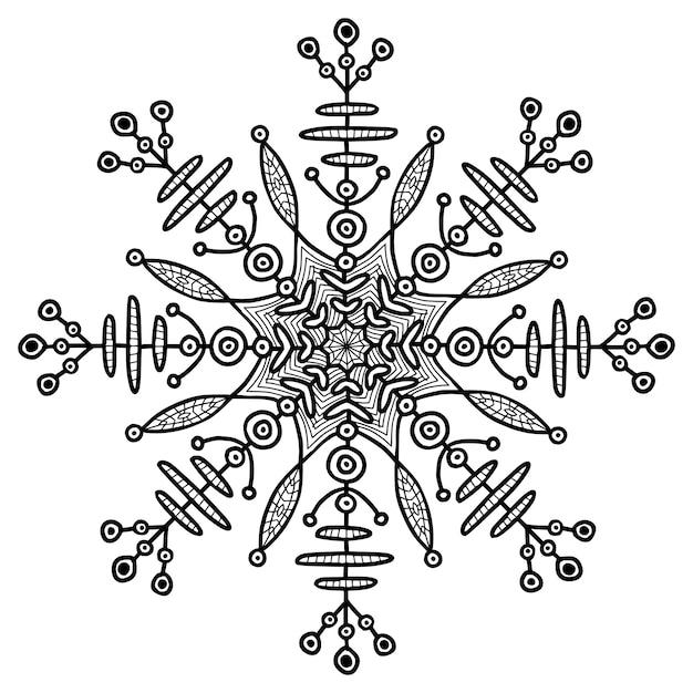 Illusration créative de flocon de neige. tatouage temporaire ethnique. impression créative. Vecteur Premium