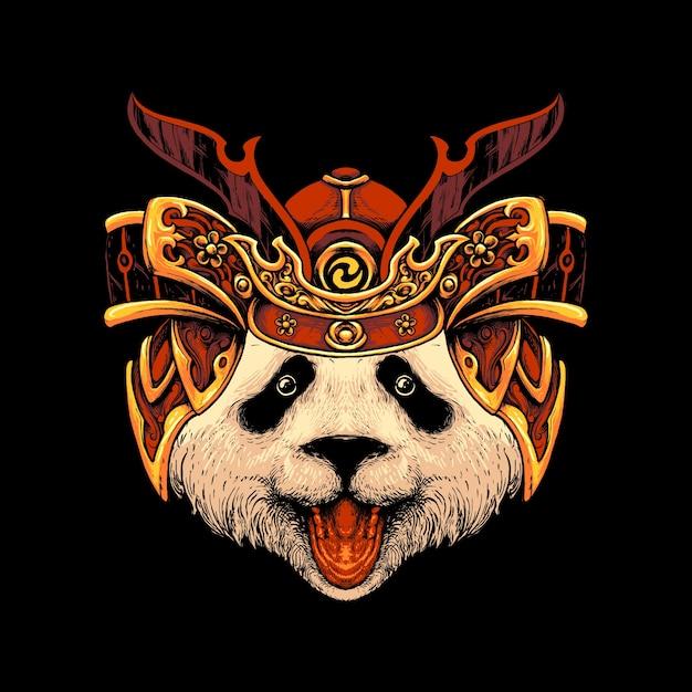 Illustraion De Chapeau De Samouraï Panda Vecteur Premium