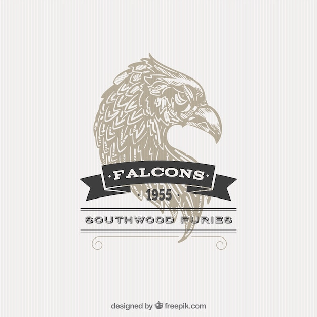 Illustrated badge faucon Vecteur gratuit