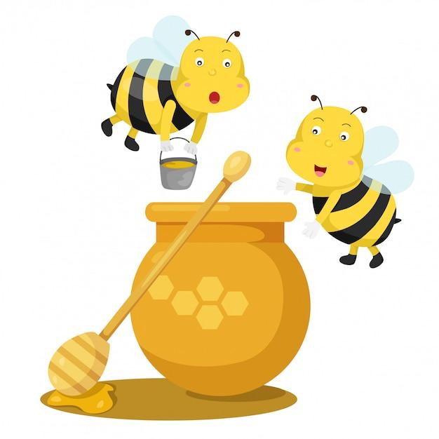 Illustrateur d'abeille et de miel Vecteur Premium
