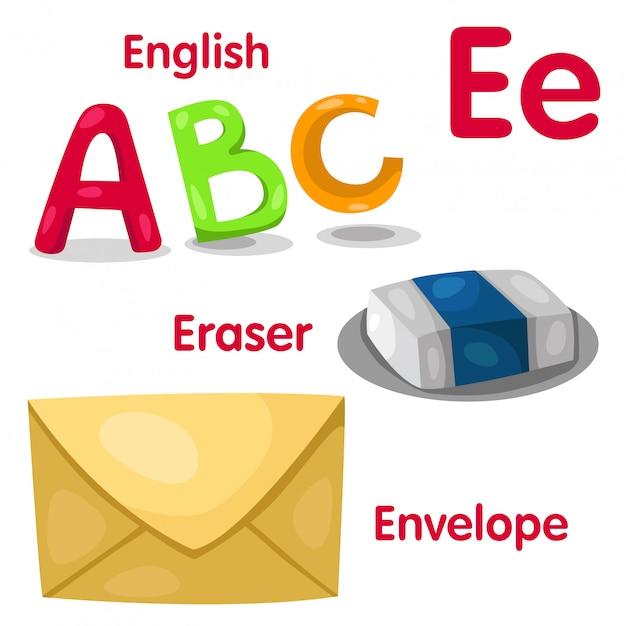 Illustrateur De L'alphabet E Vecteur Premium