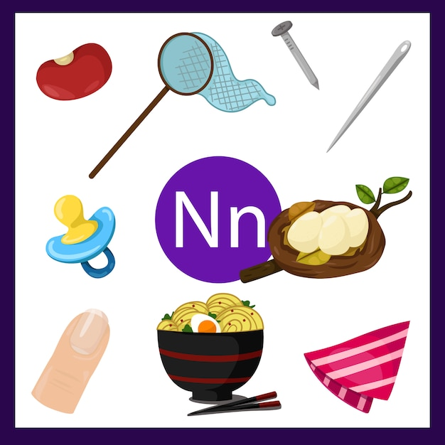 Illustrateur de l'alphabet n pour les enfants Vecteur Premium