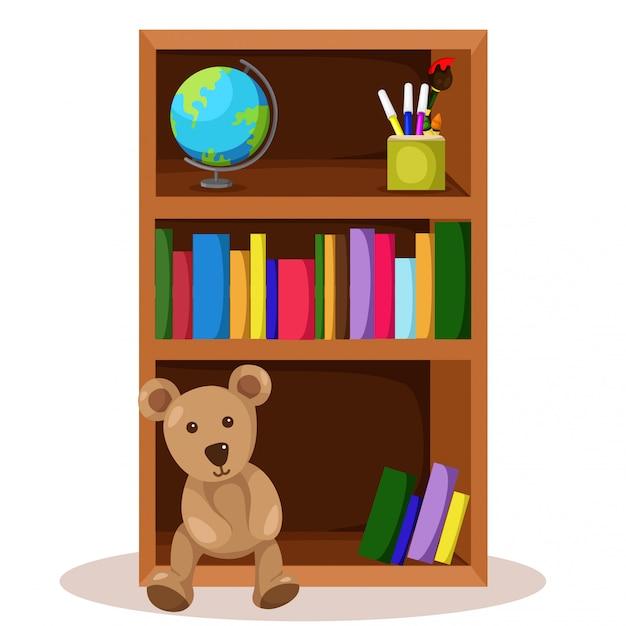 Illustrateur de bibliothèque et de livre Vecteur Premium