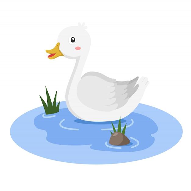 Illustrateur de canard dans la baignoire Vecteur Premium