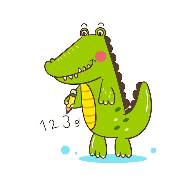 Illustrateur dessin animé mignon d'alligator Vecteur Premium