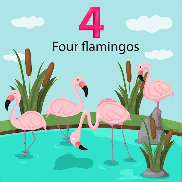Illustrateur du numéro quatre avec des flamants roses Vecteur Premium