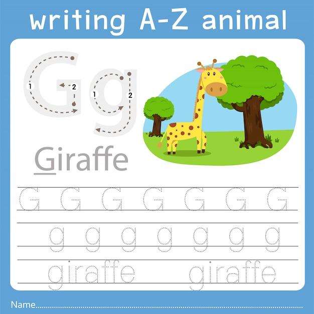 Illustrateur de l'écriture d'un animal z Vecteur Premium