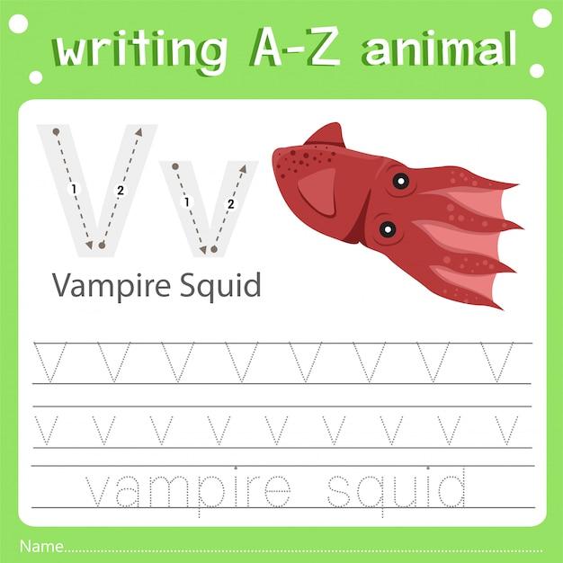 Illustrateur de l'écriture d'un calmar de v animal v animal v Vecteur Premium