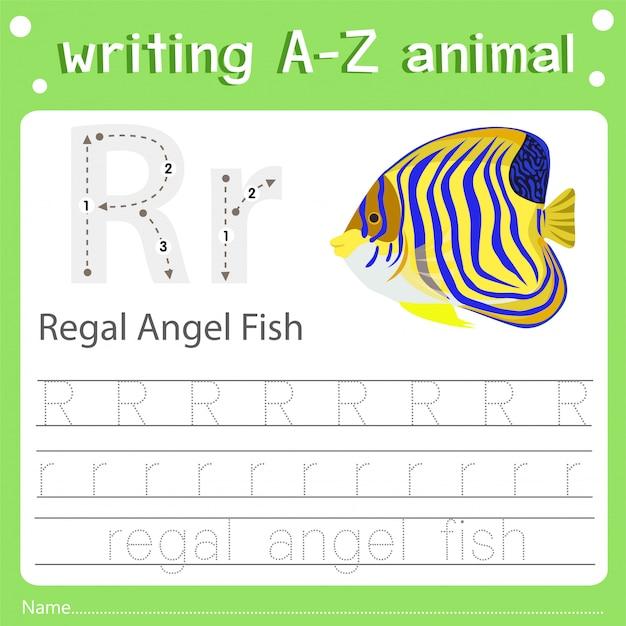 Illustrateur de l'écriture z animal r angelish royal Vecteur Premium