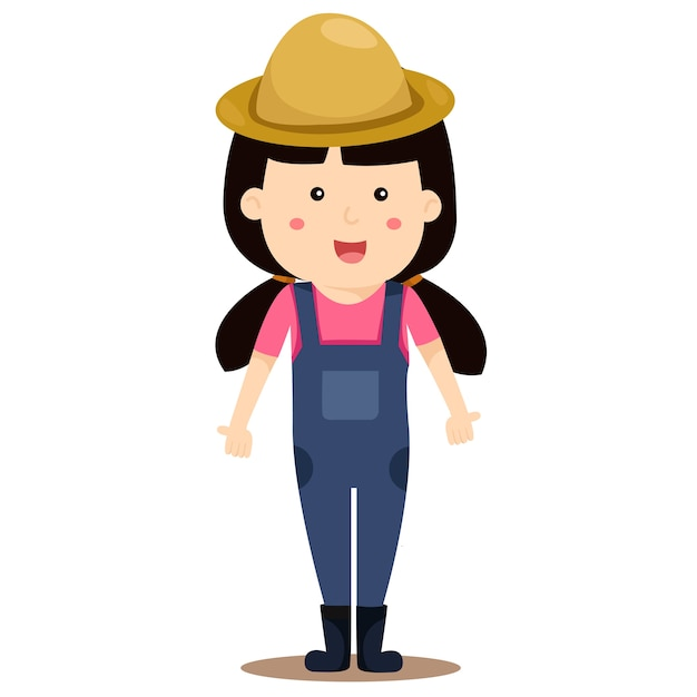 Illustrateur de fille agriculteur Vecteur Premium