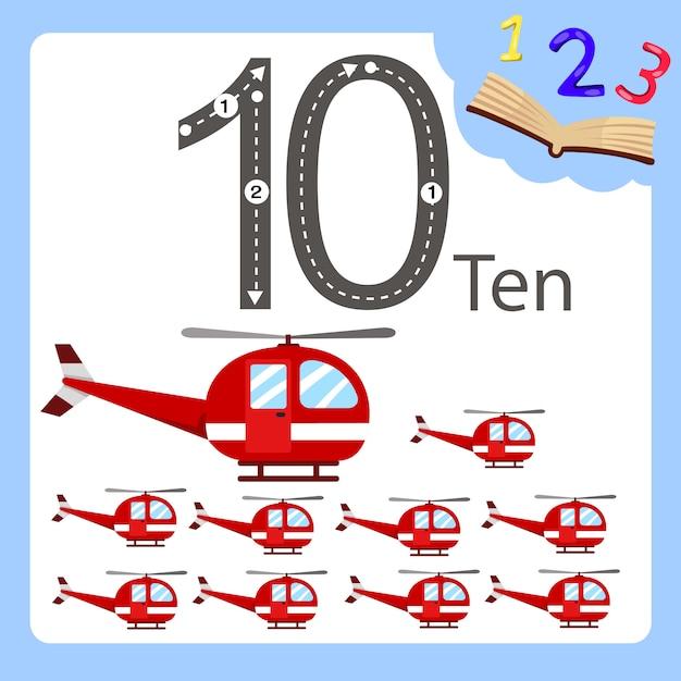 Illustrateur d'hélicoptère à dix numéros Vecteur Premium