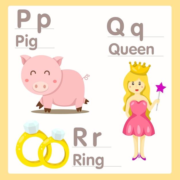 Illustrateur de pqr avec reine des cochons et alphabet à anneaux Vecteur Premium