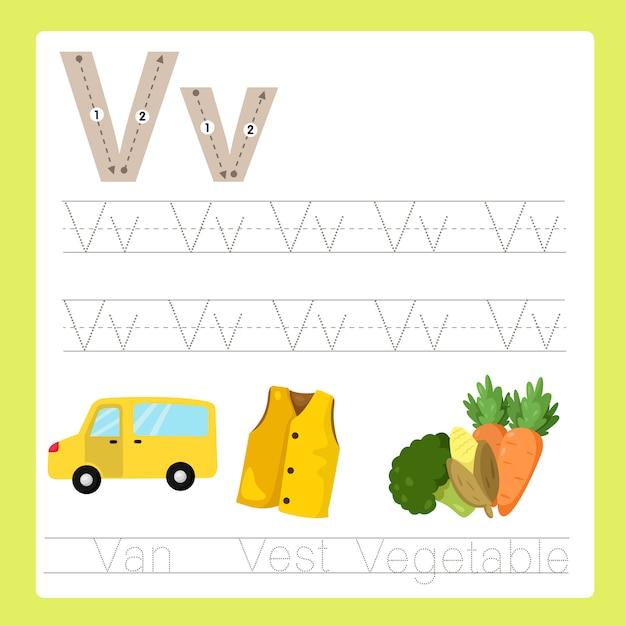 Illustrateur de v exercice az vocabulaire de dessin animé Vecteur Premium